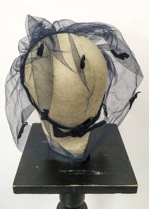 1940s 50s blue netted velvet fascinator hat veil