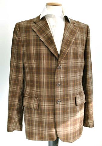 1960s vintage brown plaid sports jacket