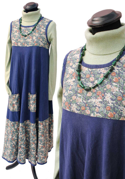 unusual vintage annabelinda smock dress, works as a maternitiy dress with liberty print bodice and front pockets