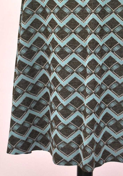 1970s Vintage Brown & Blue A-Line Skirt by Debenhams
