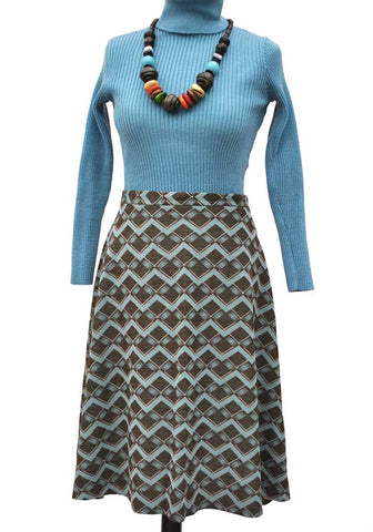 1970s vintage airforce blue and brown knee length skirt