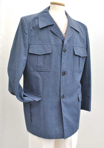 70s blue denim yorkers safari jacket for men