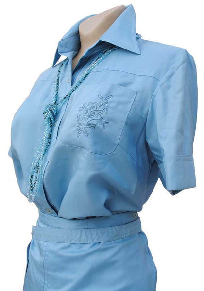 1970s Vintage Pale Blue Silk Skirt & Blouse Safari Suit Set • Short Sleeve