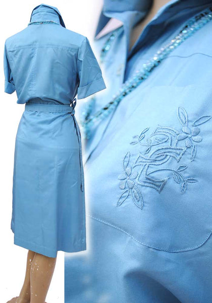 bespoke made baby blue silk two piece skirt and blouse set