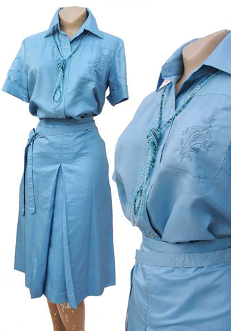 70s blue silk safari suit, box pleated skirt with matching short sleeve blouse