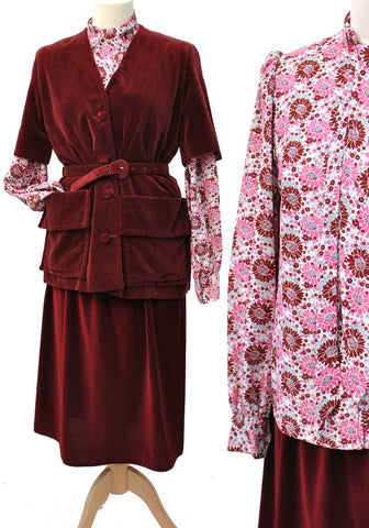 vintage hand made burgundy velvet safari  jacket with matching pink floral blouse