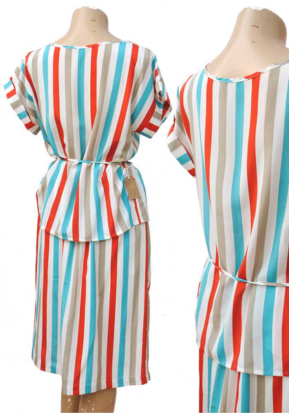 1980s Vintage Candy Stripe Summer Skirt Set • Silky Stripes Turquoise Red Grey White