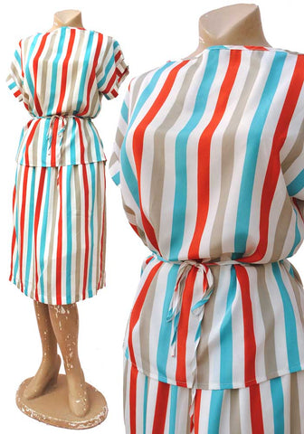 candy stripe turquoise, grey, white and red two piece skirt and blouse, vintage 70s 80s summer outfit