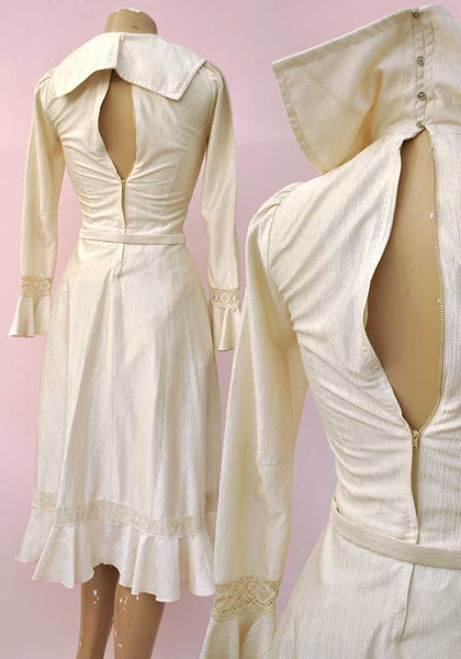 1970s Vintage Romantic Boho Cream Silky Dress with Lace • Sailor Style Collar