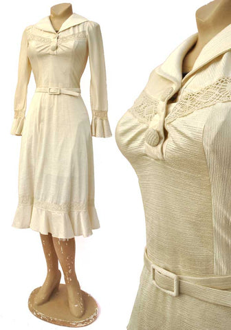 romantic 70s cream lacey dress, boho