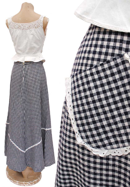 1970s Vintage Blue Gingham Maxi Skirt with Pocket and Lace Trim