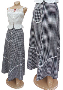 fun vintage 70s maxi skirt in blue gingham with white lace ribbon trim and a front patch pocket