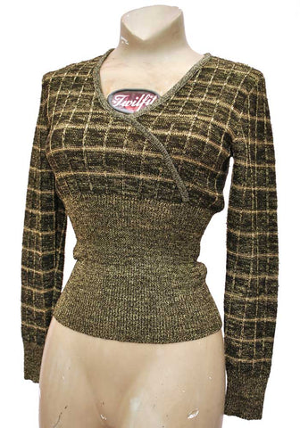 1970s black and gold lurex fitted sweater, northern soul, glam rock disco