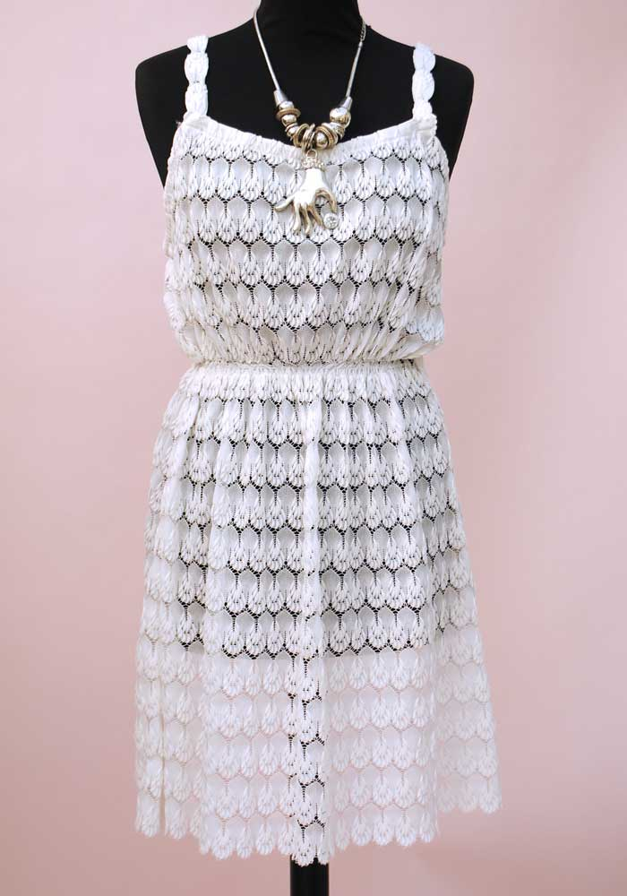 vintage white lace strappy mini dress with elastic waist, perfect for summer holidays, sun dress.