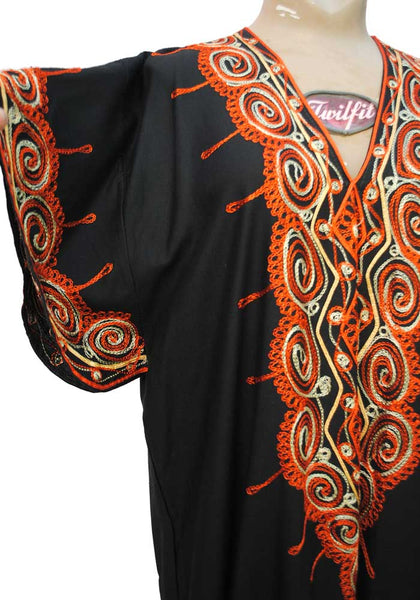 1970s Vintage Black & Orange Crewel Embroidered Kaftan Dress