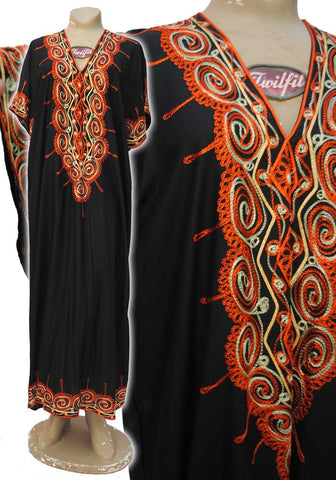 traditional black kaftan dress with orange embroidery