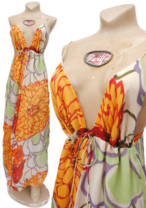 Floaty Vintage Orange Floral Gauzy Strappy Maxi Dress with Plunging Neckline