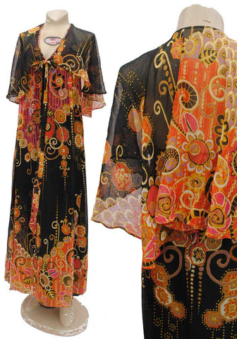 1970s vintage indian cotton boho hippie maxi dress