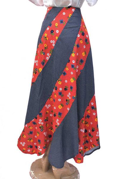 1970s Vintage Red and Blue Patchwork Floral Maxi Skirt • Scarf Hem • Polka Dots