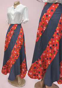 70s hippie maxi skirt with scalloped hem in polka dot red and blue cotton