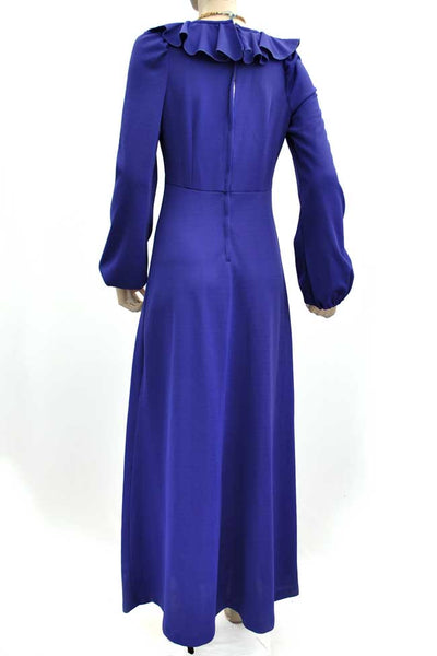 1970s Vintage Purple Maxi Dress • Balloon Sleeves • Ruffle Front • Plunging Neckline