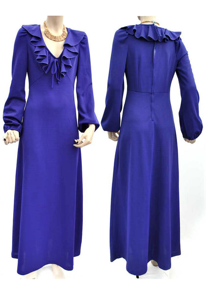 vintage 70s ozzie style plunging neck maxi dress, violet purple with balloon sleeves