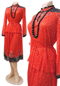 70s red and black gypsy skirt and long sleeve blouse set