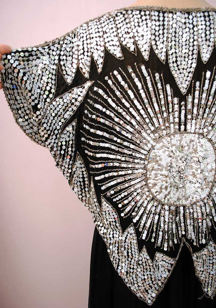 1970s Vintage Silver Sequin Moon Butterfly Top • Disco • Boho