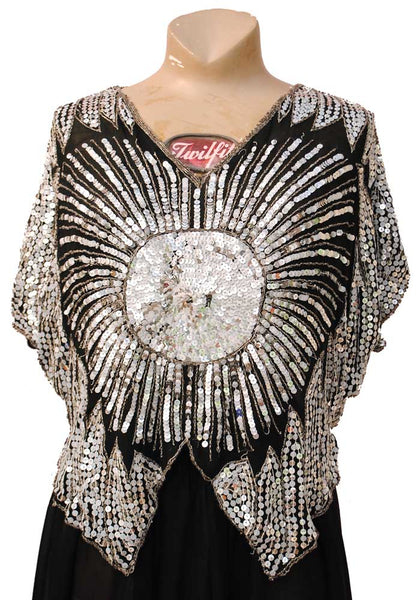 original vintage 60s silver sequin butterfly top