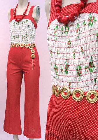 1970s Vintage Red Strawberry Polkadot Jumpsuit