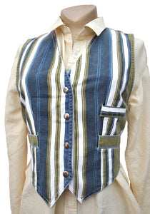vintage 70s striped denim waistcoat