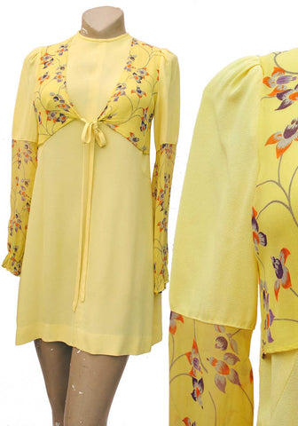 1960s Ossie style Radley Mini Dress in Yellow Crepe with Belladonna Print Sleeves