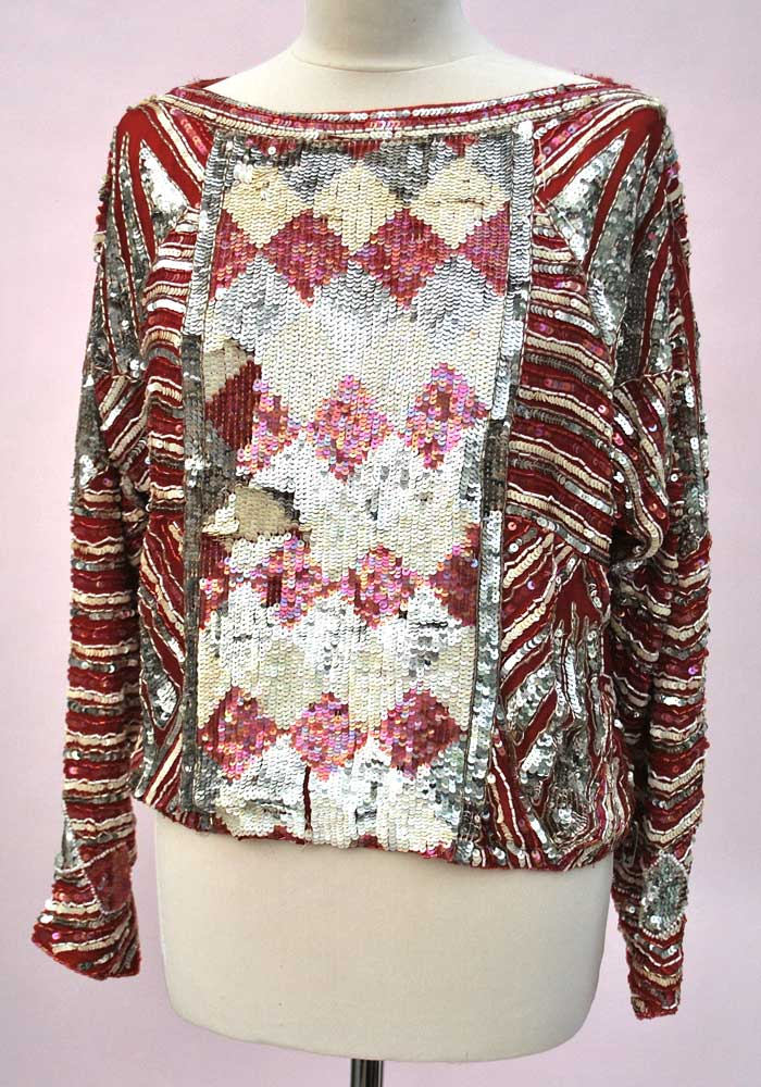 vintage red and silver harlequin sequin silk top