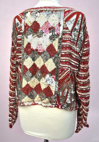 1970 Vintage Red Silver Sequin Harlequin Long Sleeve Top • Disco • Boho
