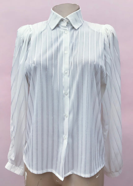 1980s Vintage White Striped Long Sleeve Secretary Blouse