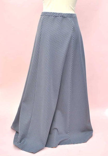 1970s Vintage Blue and White Check A-Line Maxi Skirt
