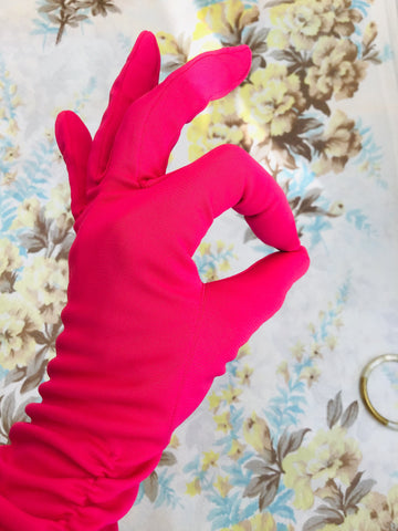 Buy hot pink vintage cocktail evening gloves