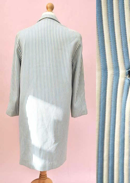 1960s Vintage Blue and White Striped Coat by Jaguar • Chunky Galalith Buttons