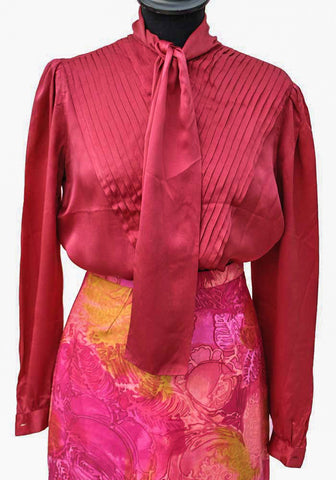 Cherry red silk blouse with tie neck and pleated front, vintage 80s