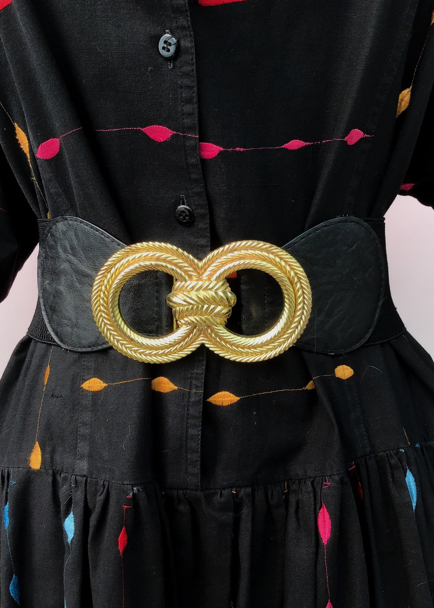 1990s Elasticated Black Cincher Belt With Gold Rope Buckle