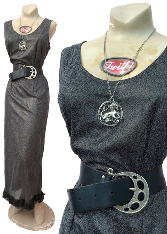 1970s Vintage Silver Lurex Sleeveless Maxi Evening Dress