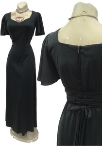 1970s Vintage Black Maxi Evening Dress with Laced Back