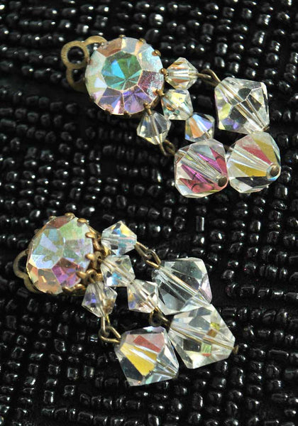 Vintage 30s glass crystal dangle clip on earrings, aurora glass beads chandelier earrings