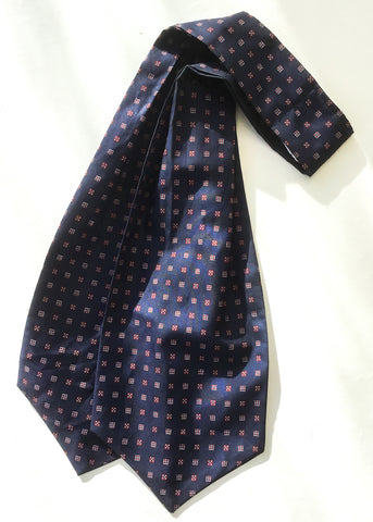 Blue patterned vintage retro cravat by debenhams, perfect for goodwood revival chap style.