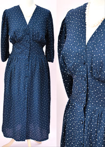 Vintage mary quant tea dress, blue with white spots