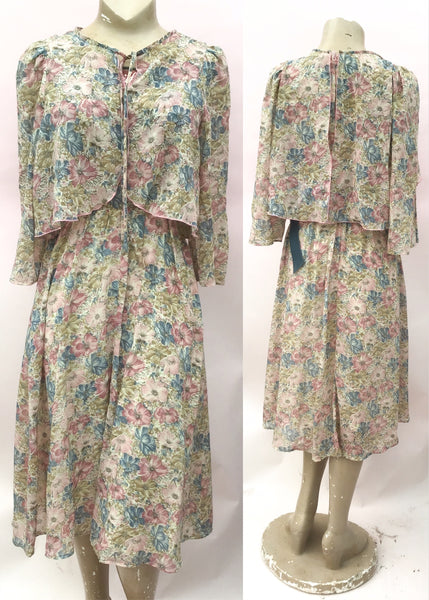 1970s Vintage Beige Floral Gauzey Summer Mr Darren Caped Dress