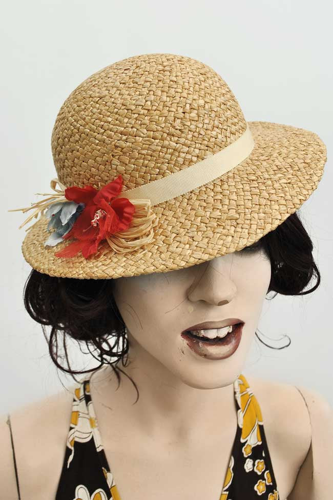 Ladies vintage 30s style summer straw hat