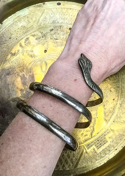 Egyptian Revival Cobra Snake Wrap Bangle Bracelet • Serpent