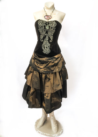 Steampunk bronze taffeta and Velvet sleeveless cocktail dress