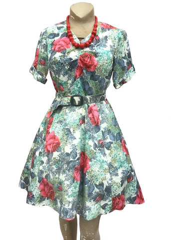 1950s Cotton Fit and Flare Floral Summer Dress